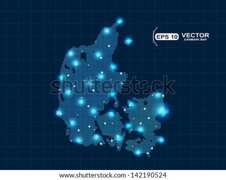 pixel  Denmark map with spot lights - stock vector