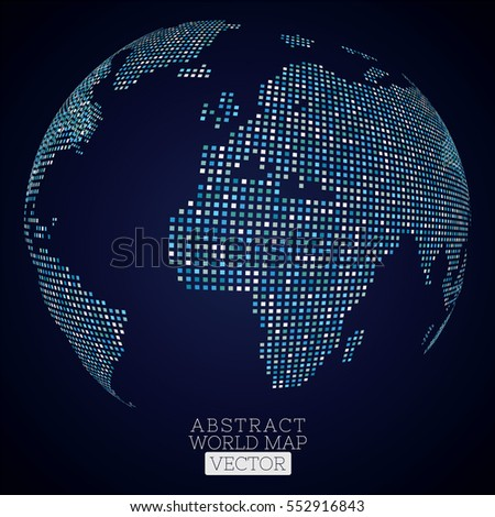 Pixel dot world map made blue stock vector 552916843 shutterstock pixel dot world map made from blue squares global technology concept gumiabroncs Images
