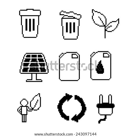 Pixel ecology ( eco ) and environmental icons and signs.Black and white set. Old school computer graphic style. - stock vector
