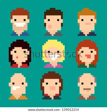 Pixel Faces - stock vector