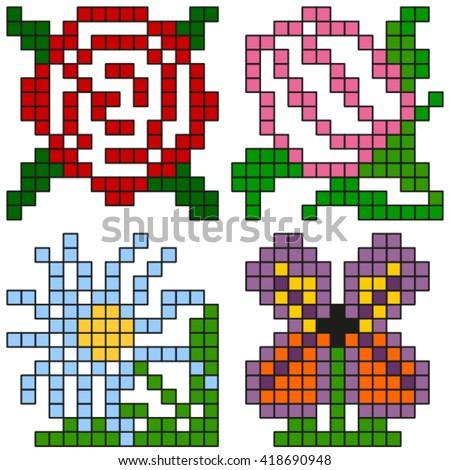 Pixel flowers. - stock vector