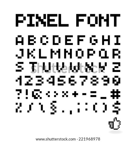 Pixel Font, Isolated Vector Letters And Numbers, Alphabet - stock vector