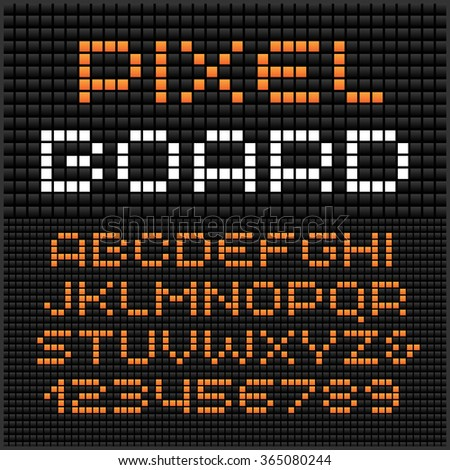 Pixel font. Vector alphabet with dots effect letters and numbers.