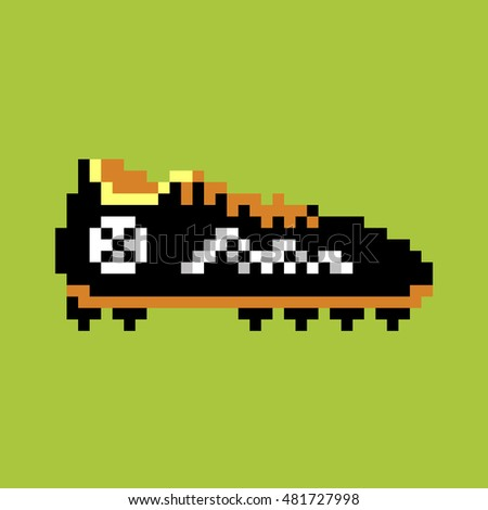 Pixel football boot, pixel-art vector
