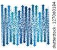 Pixel gradient blue arrows background - stock vector