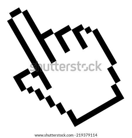 Pixel graphic hand - forefinger - stock vector