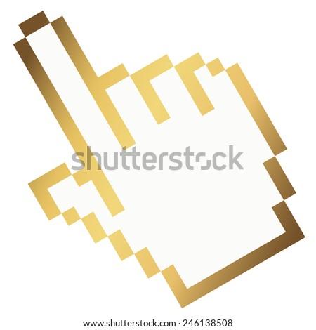 Pixel graphic hand - forefinger gold - stock vector