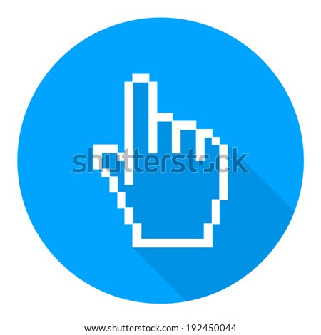 Pixel graphic hand  icon, vector illustration. Flat design style - stock vector
