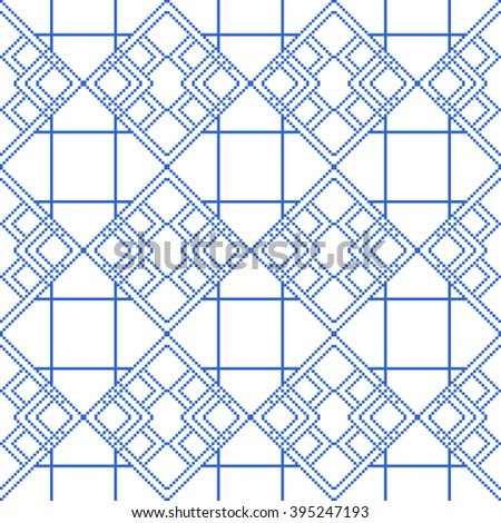 Pixel graphics.  blue color image. Intersecting geometric patterns. Vector. For web design, design presentations, textile and light industry