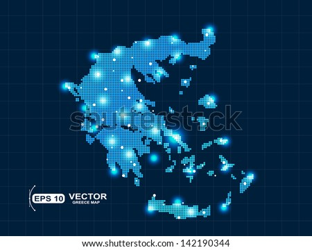 pixel Greece map with spot lights - stock vector