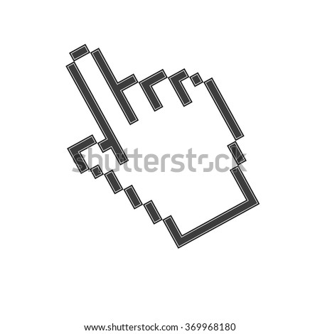 pixel hand icon  isolated on white background