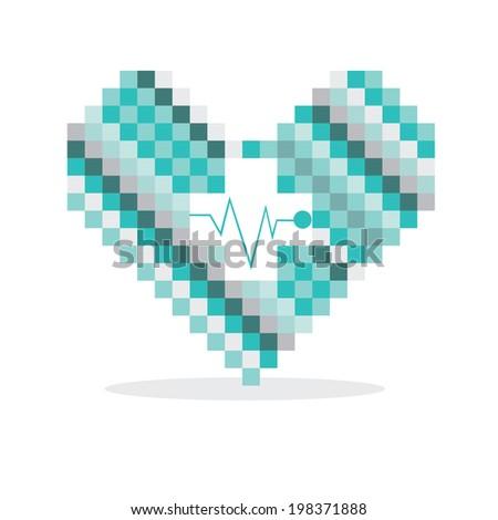 Pixel heart, good for logo - stock vector