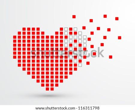 Pixel heart. Vector - stock vector