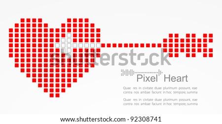 Pixel heart with cupid arrow. Vector - stock vector