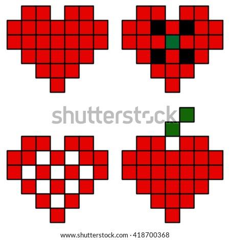 Pixel hearts,set. - stock vector