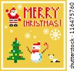 Pixel Holidays People card Santa and Snowman card /  icons set theme in pixel art style, vector illustration - stock vector