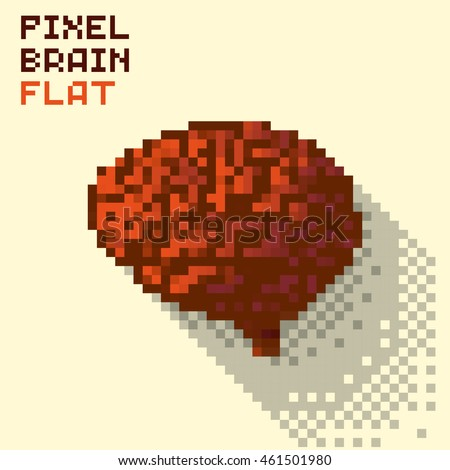 Pixel human brain in a flat design, pixelated illustration. - Stock vector