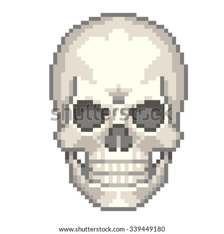 Pixel human skull high detailed isolated vector - stock vector