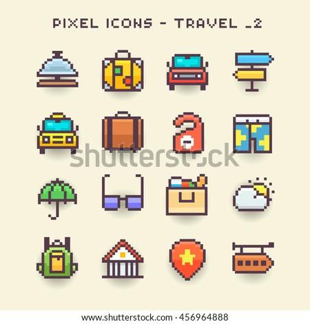 Pixel icons-travel 2 - stock vector