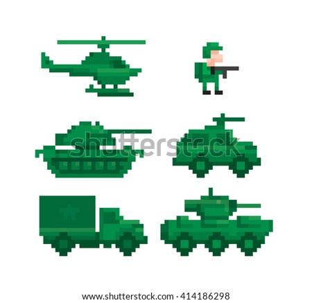pixel image military equipment - stock vector