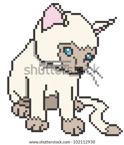 Pixel kitten isolated - vector illustration