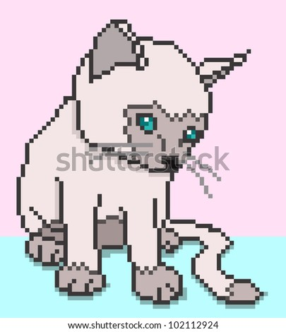 Pixel Kitten - vector illustration