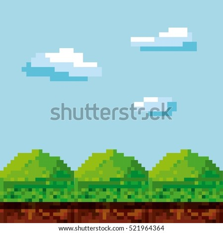 pixel landscape. Video game interface design. Colorful design. vector illustration