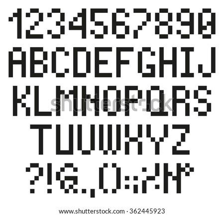 Pixel Letters Numbers Stock Vector Shutterstock