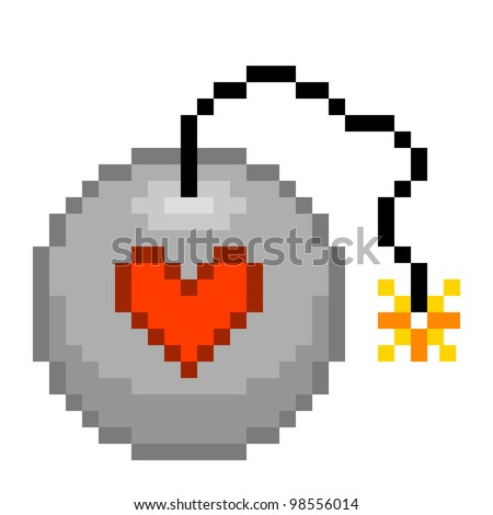 Pixel Love Bomb Illustration - stock vector
