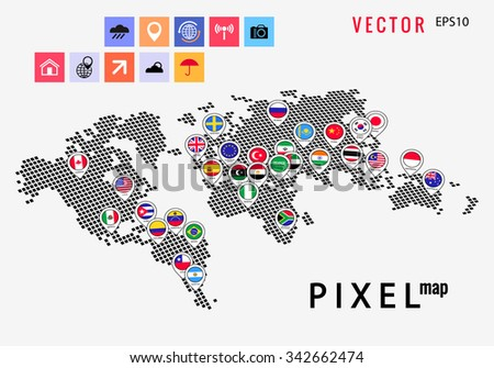 pixel map flags points set - stock vector