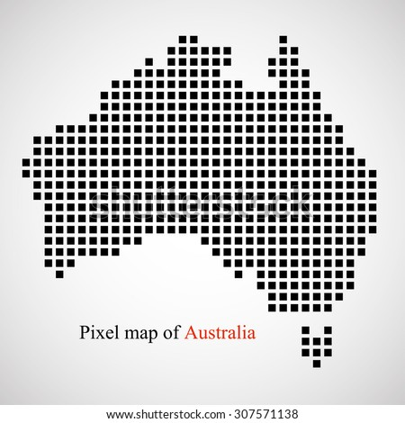 Pixel map of Australia. Colorful background. Vector illustration. Eps 10 - stock vector