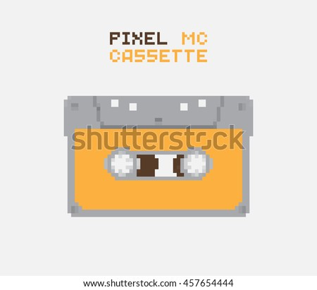 Pixel MC Cassette, retro record medium, pixelated illustration. - Stock vector