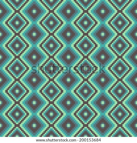 pixel modern geometric seamless pattern ornament background print design - stock vector