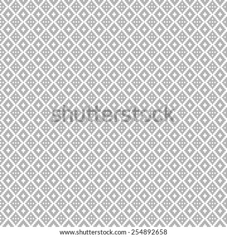 Pixel monochrome geometric seamless pattern with diamonds and curved lines - stock vector