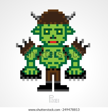 pixel monster character orc fighter knuckles vector