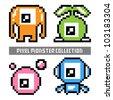 Pixel monster set - stock vector