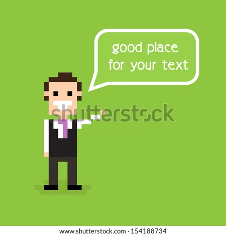 Pixel office man staying alone and greeting with speech bubble - stock vector
