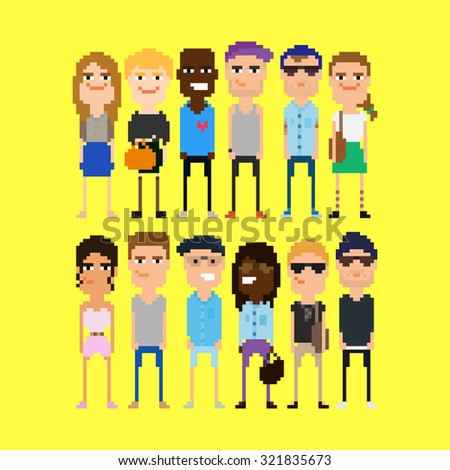 Pixel people. Different 8-bit pixel characters, male and female, isolated on yellow background