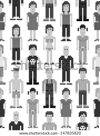 Pixel people seamless pattern. Vector illustration. - stock vector