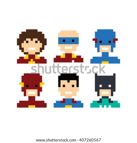 pixel people superhero avatar set vector art illustration