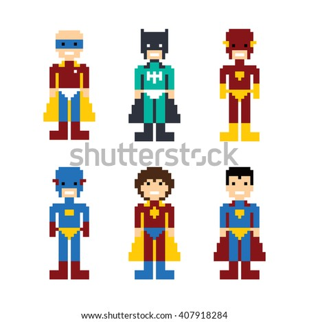 pixel people superhero avatar vector art illustration