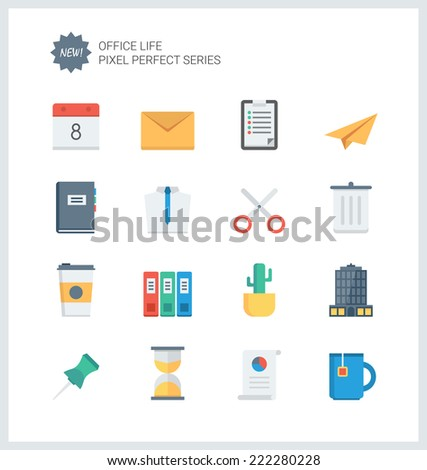 Pixel perfect flat icons set of business items, office tools, working objects and management elements. Flat design style modern pictogram collection. Isolated on white background. - stock vector