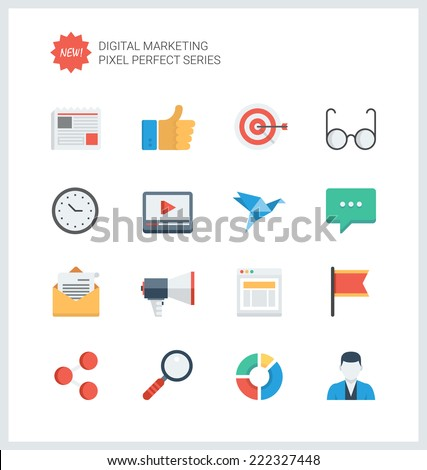 Pixel perfect flat icons set of digital marketing symbol, business development items, social media objects and office equipment. Flat design style modern pictogram collection. - stock vector
