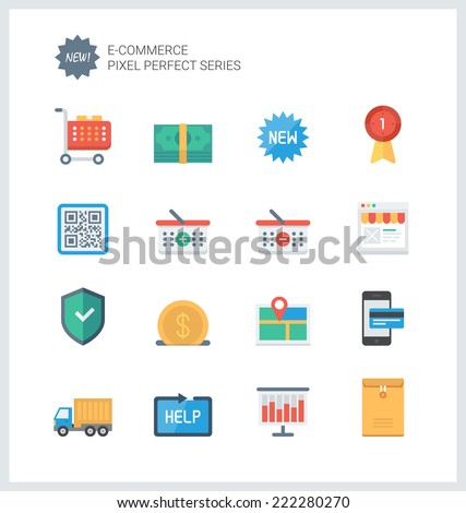 Pixel perfect flat icons set of e-commerce shopping symbol, online shop elements and commerce item, internet store product. Flat design style modern pictogram collection. Isolated on white background. - stock vector