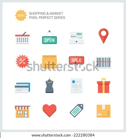 Pixel perfect flat icons set of shopping symbol, shop elements and commerce items, market objects and store products. Flat design style modern pictogram collection. Isolated on white background. - stock vector