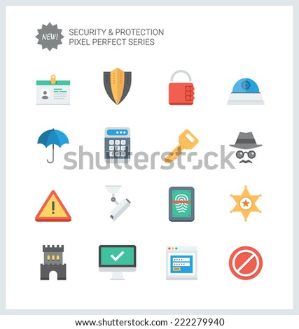 Pixel perfect flat icons set of various security objects, information and data  protection system, safety access elements. Flat design style modern pictogram collection. Isolated on white background. - stock vector