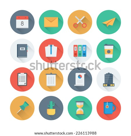 Pixel perfect flat icons set with long shadow effect of business items, office tools, working object and management element. Flat design style modern pictogram collection. Isolated on white background - stock vector