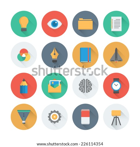 Pixel perfect flat icons set with long shadow effect of creative business development process, modern office workflow and creativity solution. Flat design style modern pictogram collection.  - stock vector