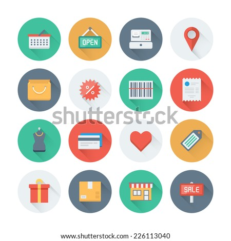 Pixel perfect flat icons set with long shadow effect of shopping symbol, shop elements and commerce items, market objects and store products. Flat design style modern pictogram collection.  - stock vector