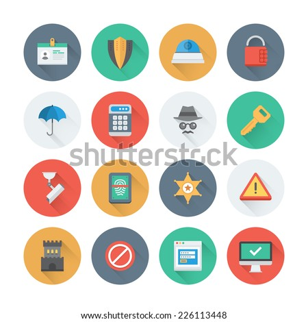 Pixel perfect flat icons set with long shadow effect of various security objects, information and data  protection system, safety access elements. Flat design style modern pictogram collection.  - stock vector